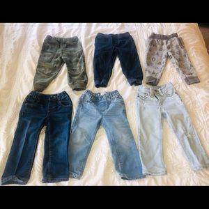 6 pairs of Toddler boy 2T jeans and joggers